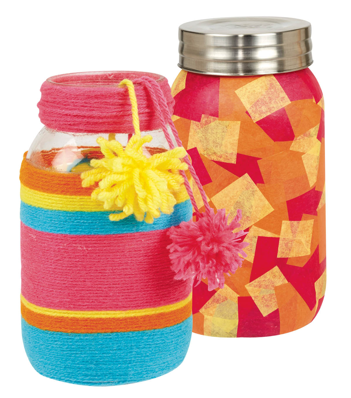 Decoupage Tissue Paper Jar and Yarn Wrapped Jar